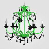 Sonja Neon Green With Black Crystal Chandelier