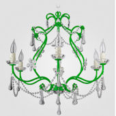 Sonja Neon Green With Clear Crystal Chandelier