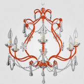 Sonja Neon Orange With Clear Crystal Chandelier
