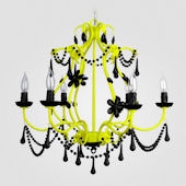 Sonja Neon Yellow With Black Crystal Chandelier