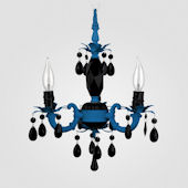 Tahlia Neon Blue With Black Crystal Chandelier