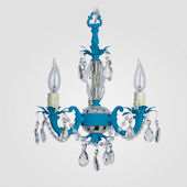 Tahlia Neon Blue With Clear Crystal Chandelier