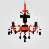 Tahlia Neon Orange With Black Crystal Chandelier