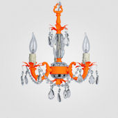 Tahlia Neon Orange With Clear Crystal Chandelier