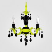 Tahlia Neon Yellow With Black Crystal Chandelier