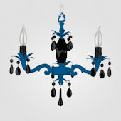 Tara Neon Blue With Black Crystal Chandelier