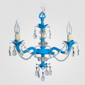 Tara Neon Blue With Clear Crystal Chandelier