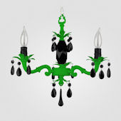 Tara Neon Green With Black Crystal Chandelier
