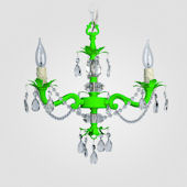 Tara Neon Green With Clear Crystal Chandelier