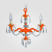 Tara Neon Orange With Clear Crystal Chandelier