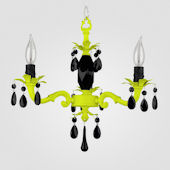 Tara Neon Yellow With Black Crystal Chandelier