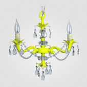 Tara Neon Yellow With Clear Crystal Chandelier