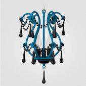 Tiffany Neon Blue With Black Crystal Chandelier