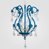 Tiffany Neon Blue With Clear Crystal Chandelier