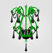 Tiffany Neon Green With Black Crystal Chandelier