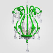 Tiffany Neon Green With Clear Crystal Chandelier