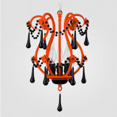 Tiffany Neon Orange With Black Crystal Chandelier