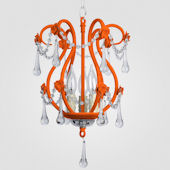 Tiffany Neon Orange With Clear Crystal Chandelier