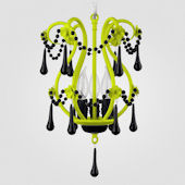 Tiffany Neon Yellow With Black Crystal Chandelier