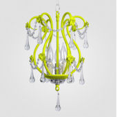Tiffany Neon Yellow With Clear Crystal Chandelier
