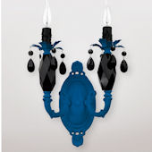 Venus Double Neon Blue With Black Crystal Sconce
