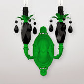 Venus Double Neon Green And Black Crystal Sconce