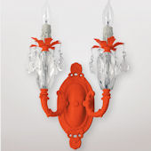 Venus Double Neon Orange And Clear Crystal Sconce