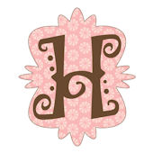 Mod Monogram Pink and Chocolate H Wall Sticker