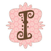 Mod Monogram Pink and Chocolate i Wall Sticker