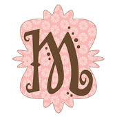 Mod Monogram Pink and Chocolate M Wall Sticker