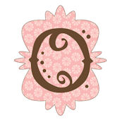 Mod Monogram Pink and Chocolate O Wall Sticker