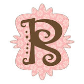 Mod Monogram Pink and Chocolate R Wall Sticker