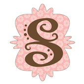 Mod Monogram Pink and Chocolate S Wall Sticker