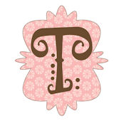 Mod Monogram Pink and Chocolate T Wall Sticker