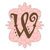 Mod Monogram Pink and Chocolate W Wall Sticker