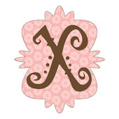 Mod Monogram Pink and Chocolate X Wall Sticker