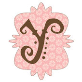 Mod Monogram Pink and Chocolate Y Wall Sticker