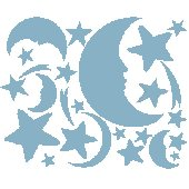 Blue Moon and Stars Peel and Stick Wall Stickers