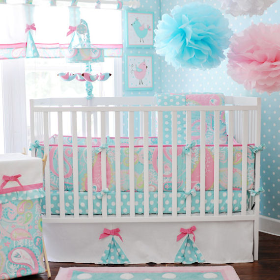 pixie baby bedding in aqua the frog and the princess