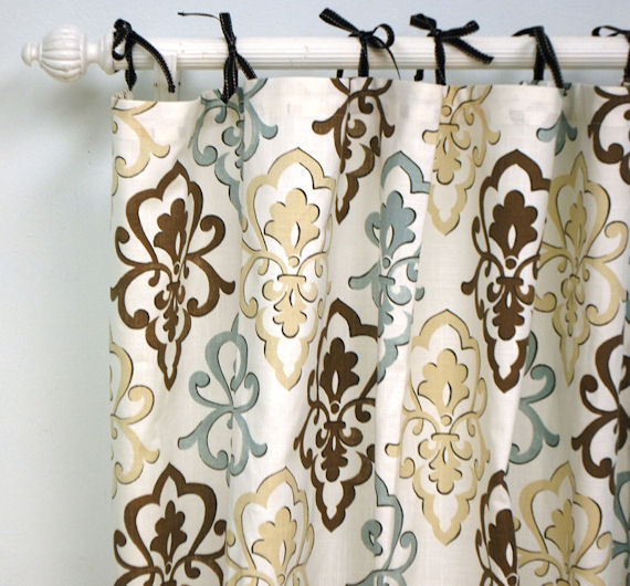 Crush Damask Lace Curtain Panel - Lace Curtains