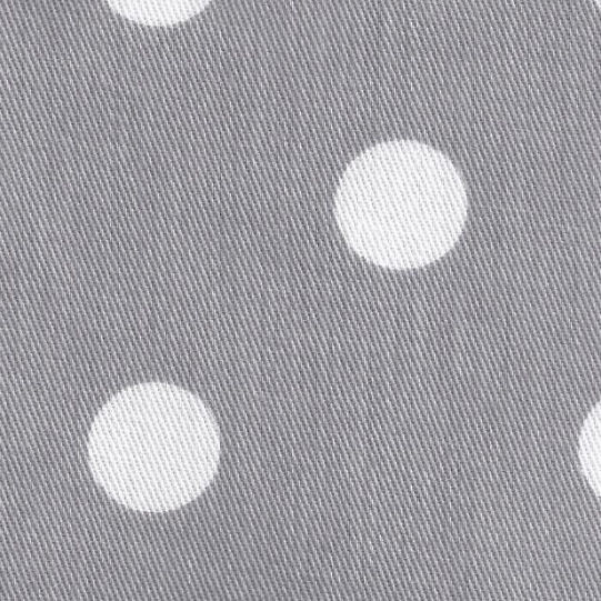 New Arrivals White on Gray Polka Dot Twill Fabric