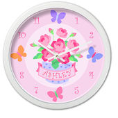 Blossoms And Butterflies Personalized Clock