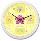 Olive Kids Flower Land Personalized Clock