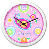 Olive Kids Paisley Dreams Personalized Clock