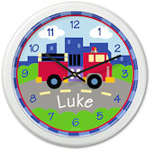 Trains Planes And Trucks Fire Personalized Clock