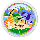 Olive Kids Wild Animals Personalized Clock