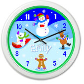 Olive Kids Snow Man Personalized Clock
