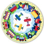 Trains Planes and Trucks Round Rug