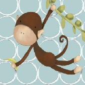 Hanging Monkey Blue Wall Art