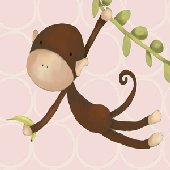 Hanging Monkey Pink Wall Art